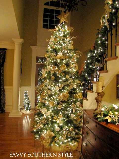 Savvy Southern Style Christmas Eve At My Brother S Home Gold Christmas Tree Tall Christmas Trees Christmas