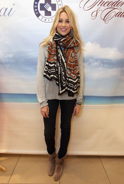 Stephanie Pratt's patterned scarf