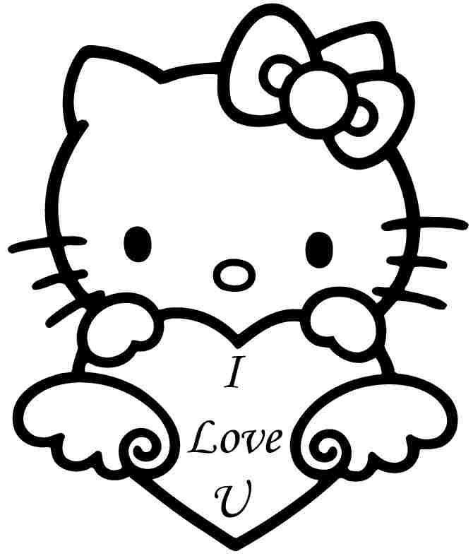 Free Printable Hello Kitty Valentine Coloring Sheets For Kids