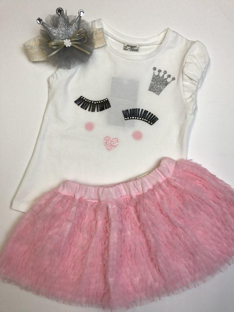 Eyelash Top and Skirt Set