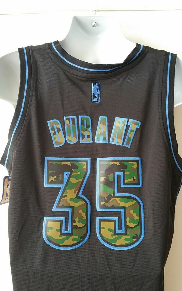 148bf8cb3 Adidas Authentic NBA Jersey Thunder Kevin Durant CAMOUFLAGE SEWN ON sz  Large NWT