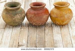 Three Small Clay Plant Pots Mass Produced Planter With Rough Grunge Clay Plant Pots Clay Pots Clay Planters