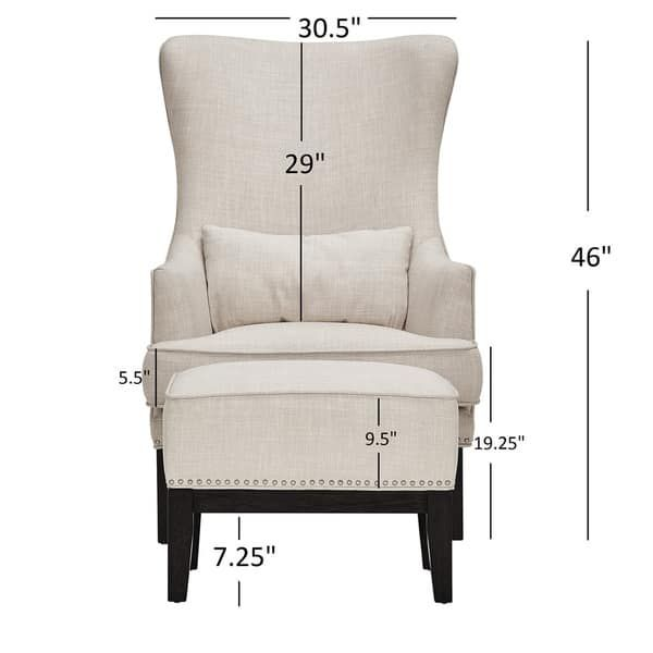 Capella Highback Wing Lounge Chair With Footstool By