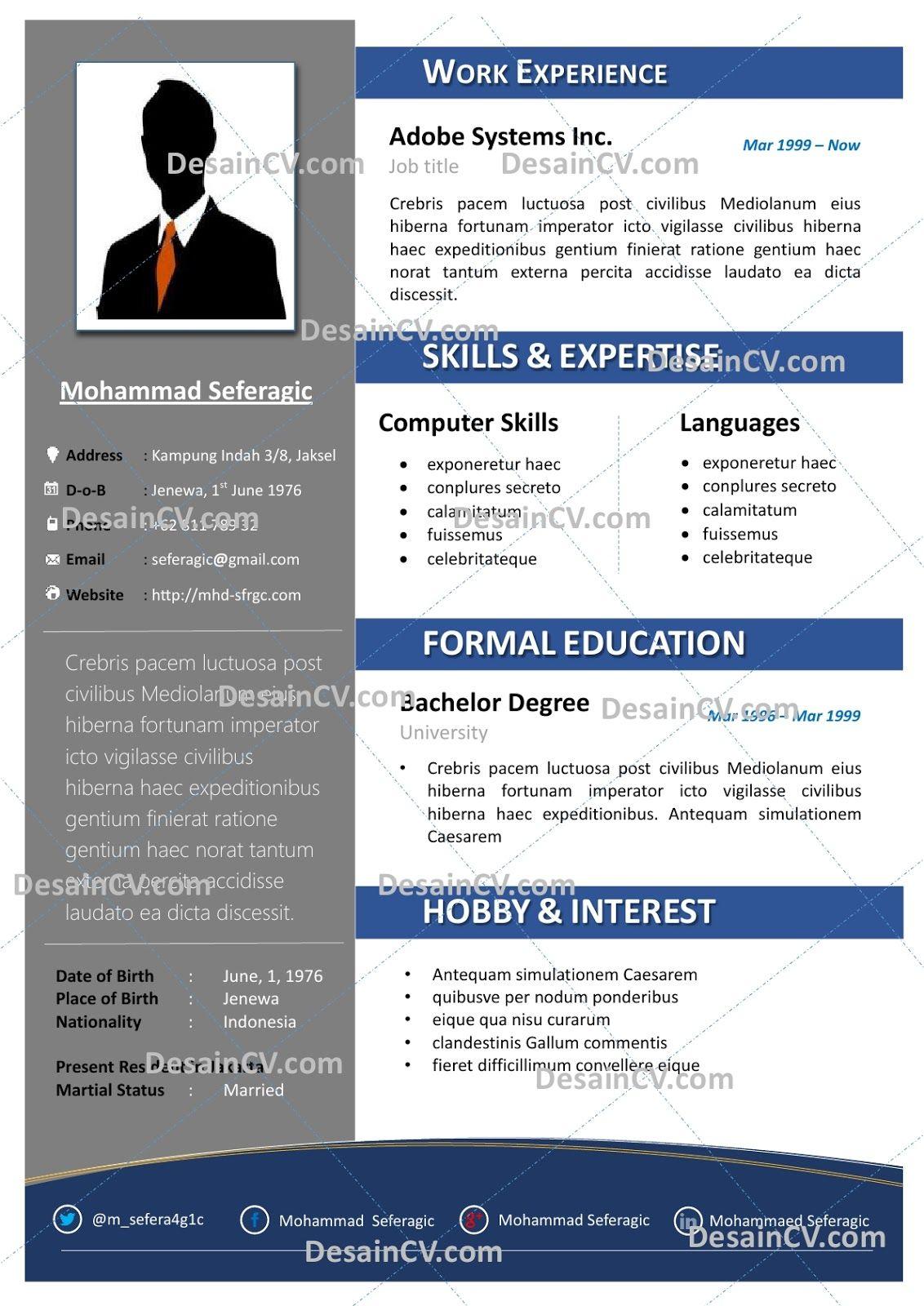 Professional Contoh Curriculum Vitae Resume Template Cv Kreatif Template Photoshop