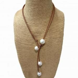 Wendy Mignot Signature Freshwater Pearl Necklace Leather