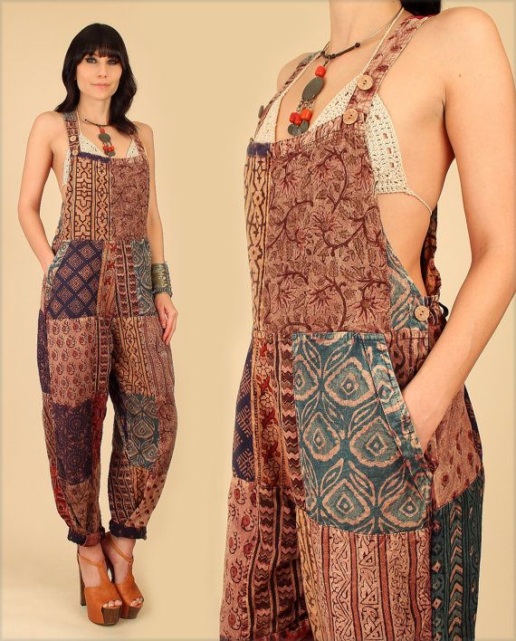 b203de785d9 ViNtAgE INDIA Patchwork Bib OVERALLS Cotton 90s Hippie Revival ...
