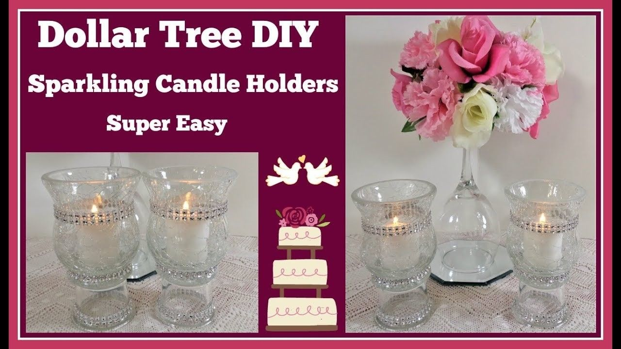 Dollar tree diy crackle glass candle holders for wedding and