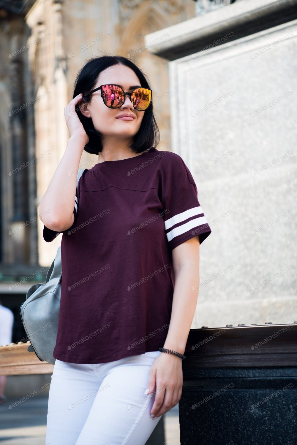 Young Stylish Girl Wearing Fashionable Glasses And A T Shirt