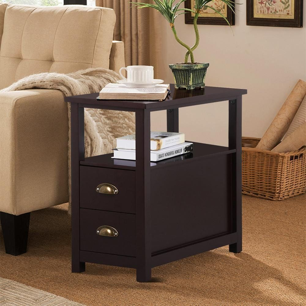 Yaheetech Chairside End Table with 2 Drawer