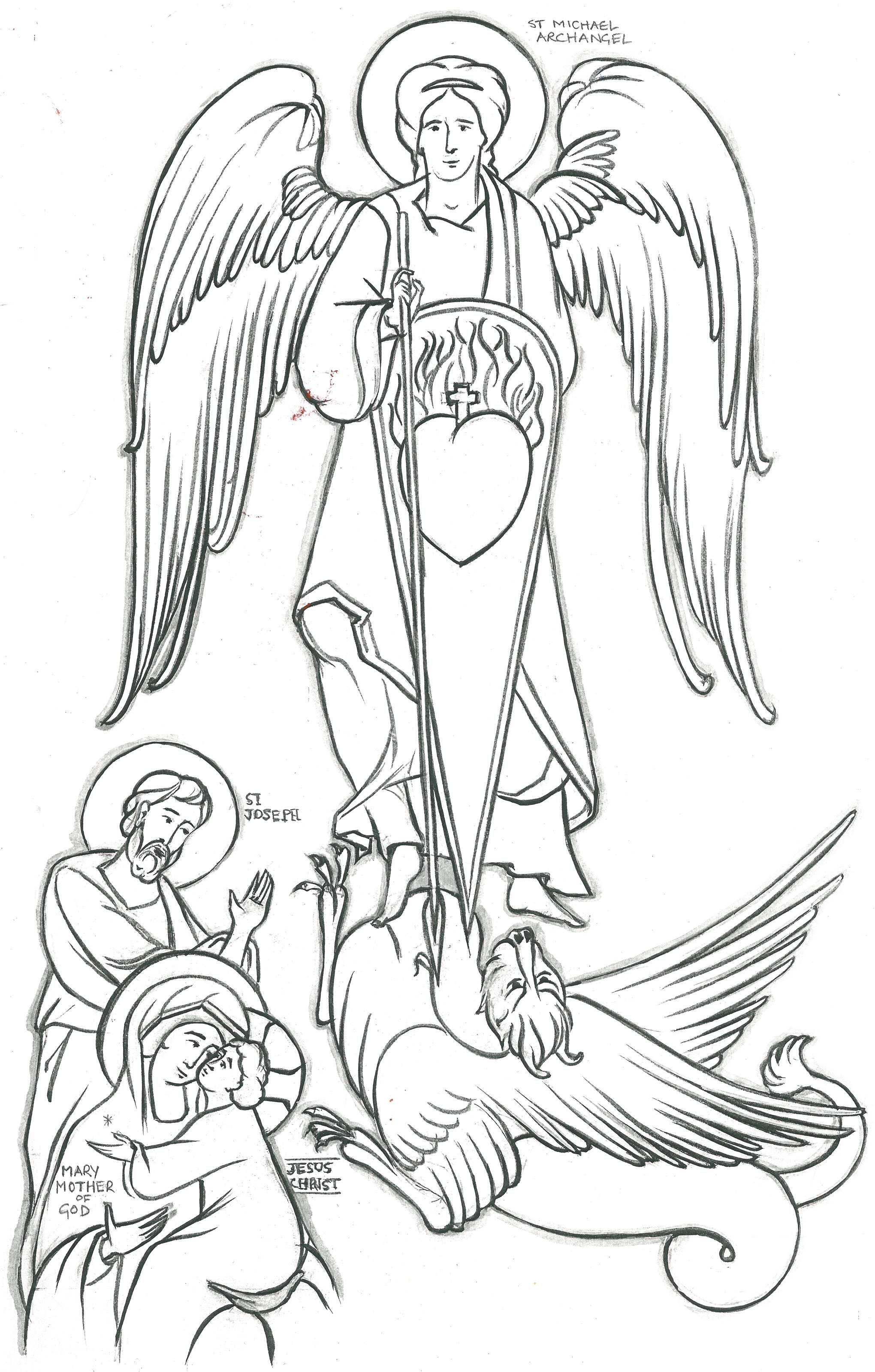 St Michael And Holy Family 2040x3200 MichaelHoly FamilyColoring Pages