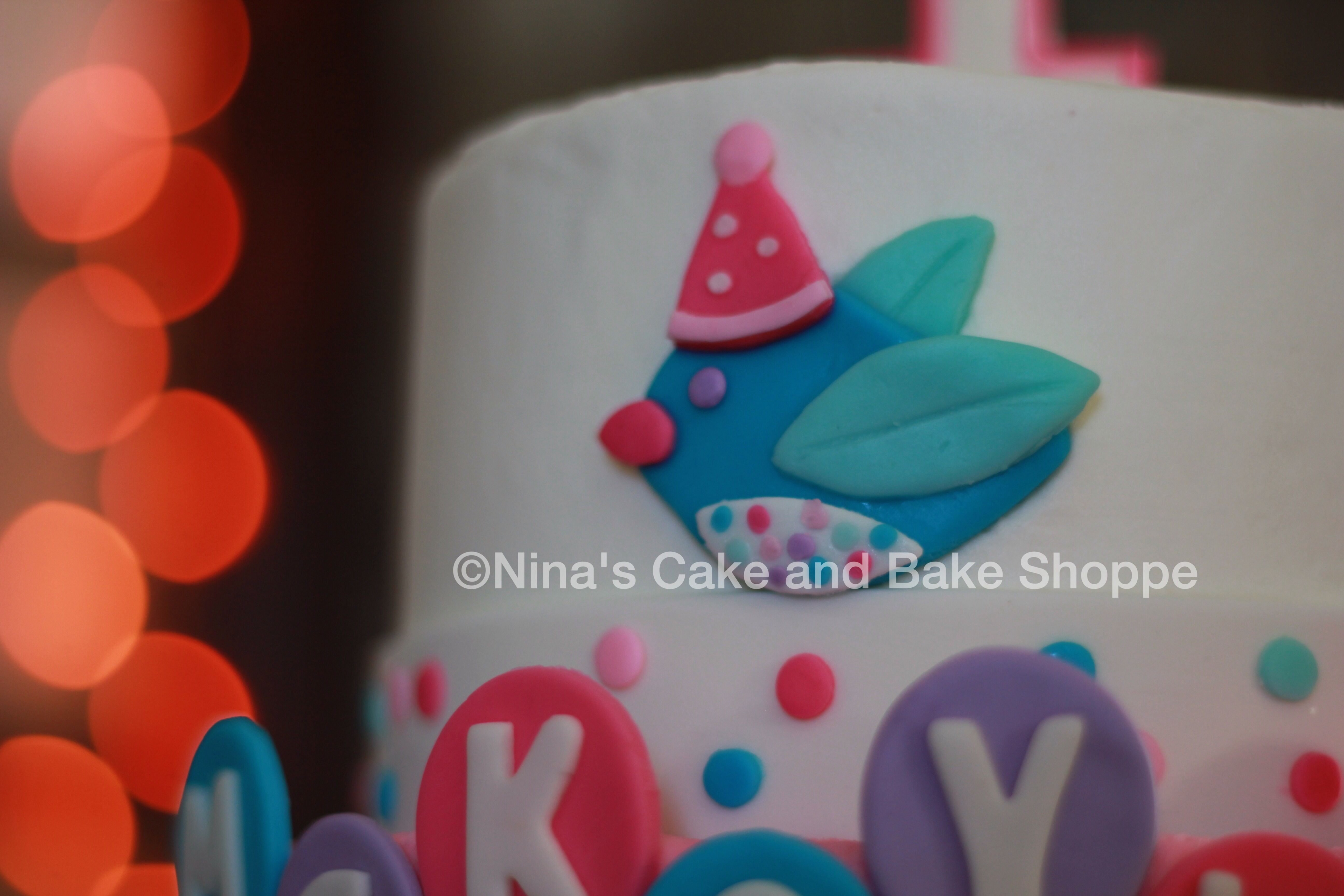 Bird and balloons girls first birthday cake Ninas Cake and Bake