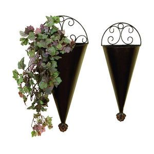 Woodland Imports 2 Piece Conical Wall Planter Set