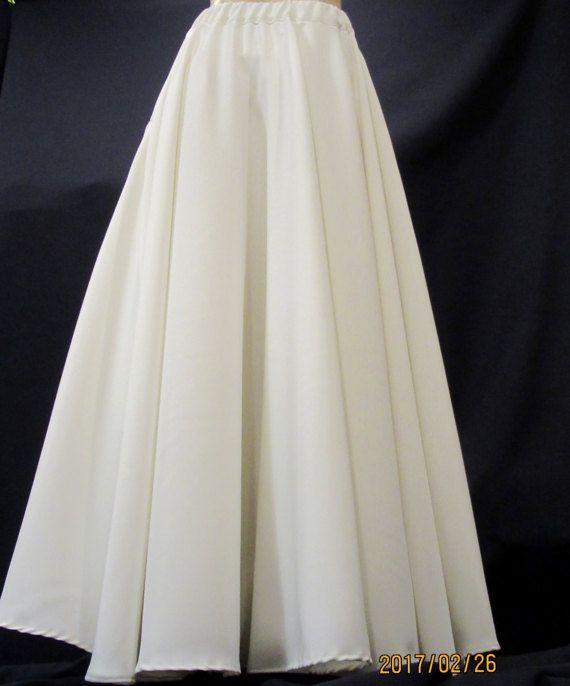Solid White Floor Length Full Circle Skirt Wedding Circle Skirt