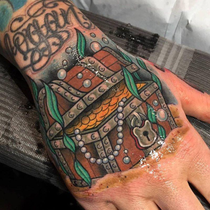 Treasure Chest Hand Tattoo By Dan Smith Mermaid Tattoos Hand Tattoos Chest Tattoo