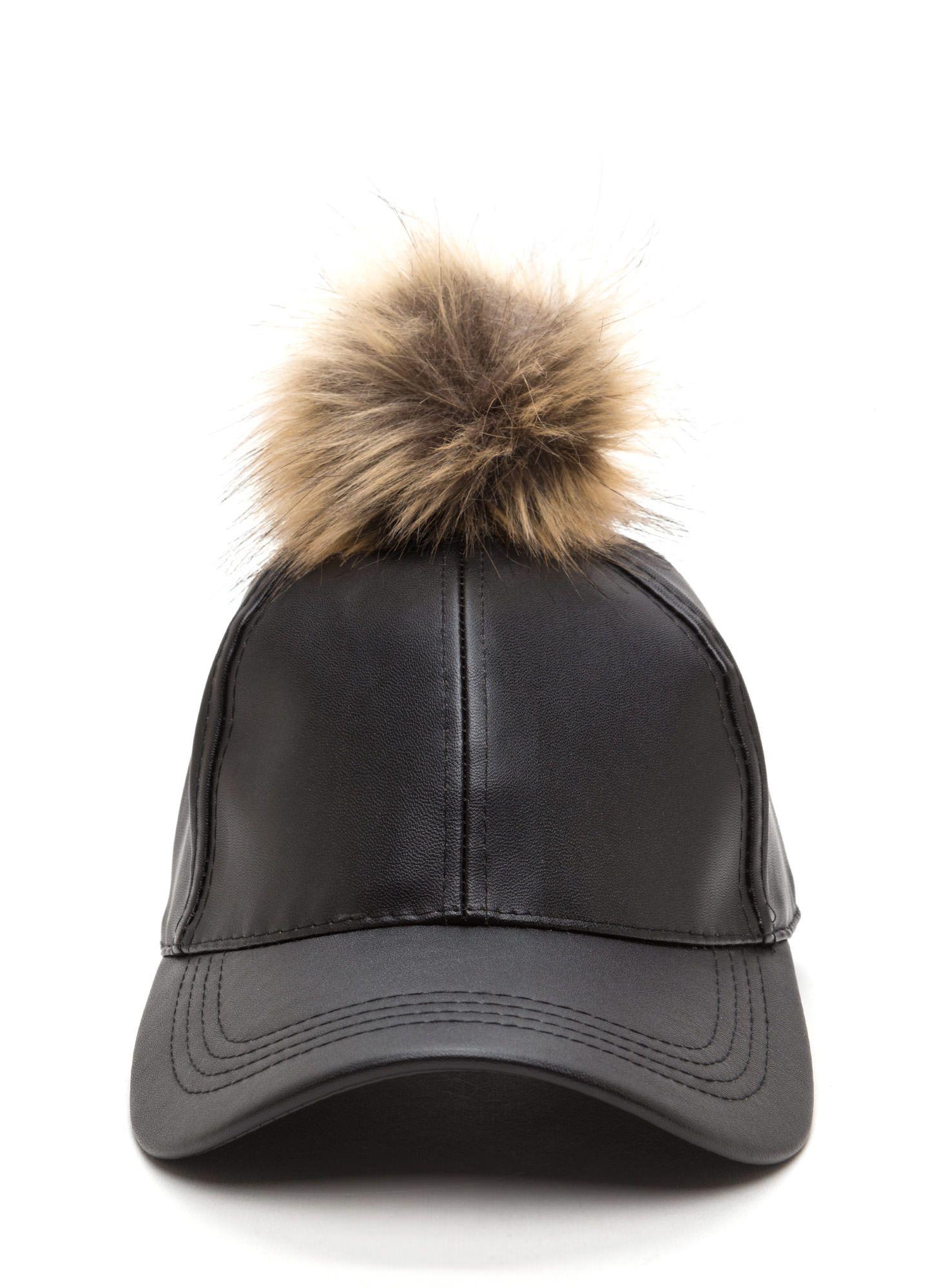2c89a25bc93 Go Fur It Faux Leather Pom-Pom Cap BLACKBROWN IVORY MINT PINK - GoJane.com