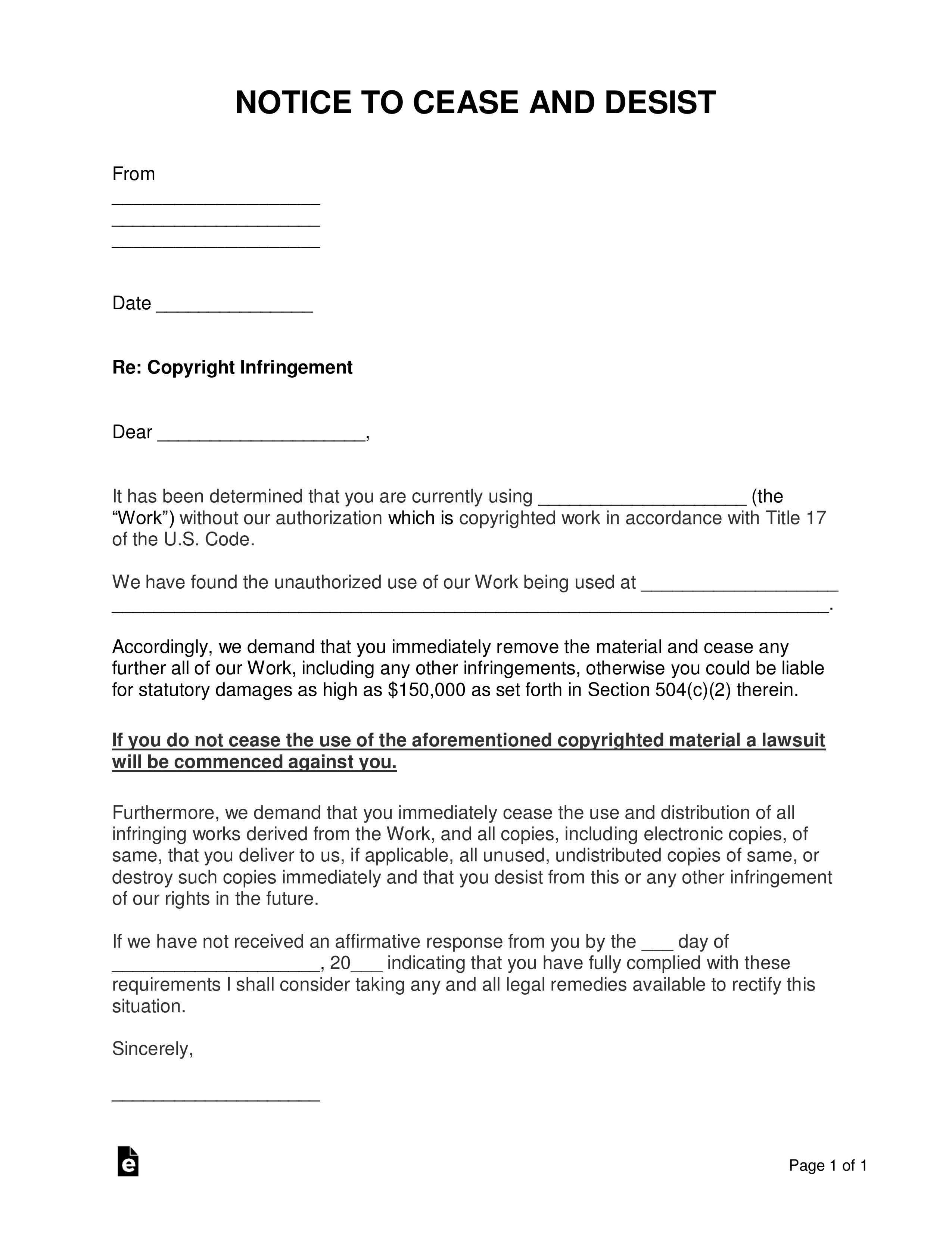 Awesome Cease And Desist Letter Example Copyright Infringement And Review Di 2020