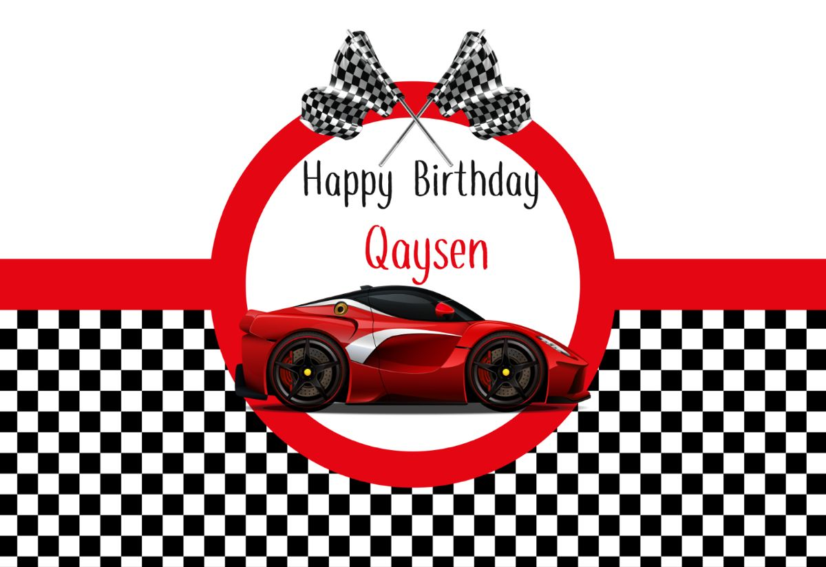 Red Sports Car NASCAR Race Car Birthday Banner Personalized Party Backdrop