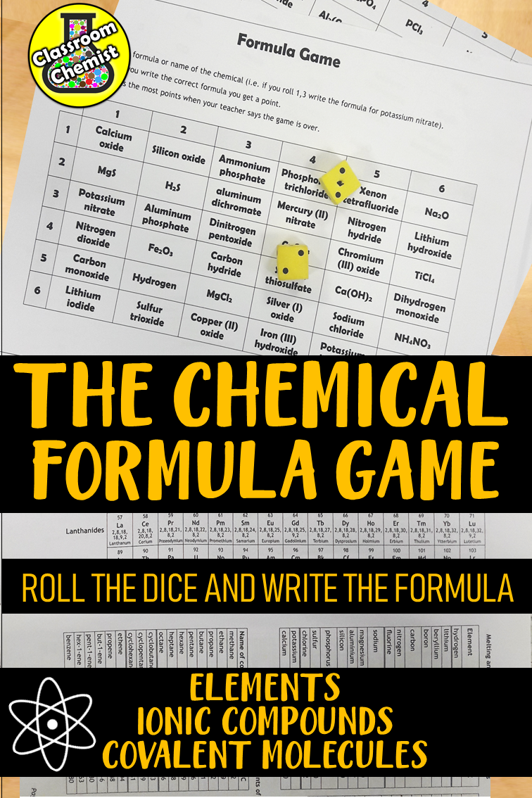 Chemical Formula Game Writing And Naming Chemical Formula Chemistry Lessons Chemistry Classroom Teaching Chemistry [ 1134 x 756 Pixel ]