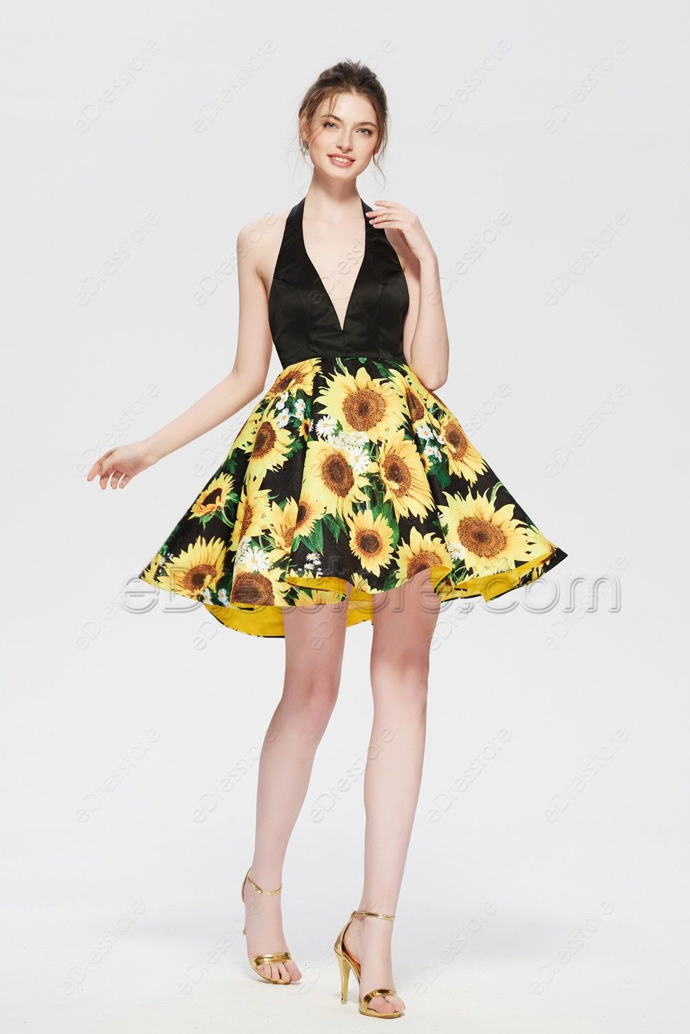 Floral Sunflower Yellow Backless Homecoming Dress Short Prom Dress Homecoming Dresses Dresses Homecoming Dresses Short [ 1500 x 1001 Pixel ]