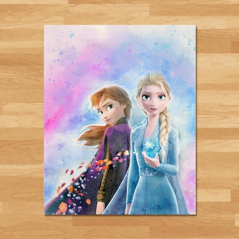 Frozen Watercolor In 2021 Frozen Painting Disney Paintings Frozen Art