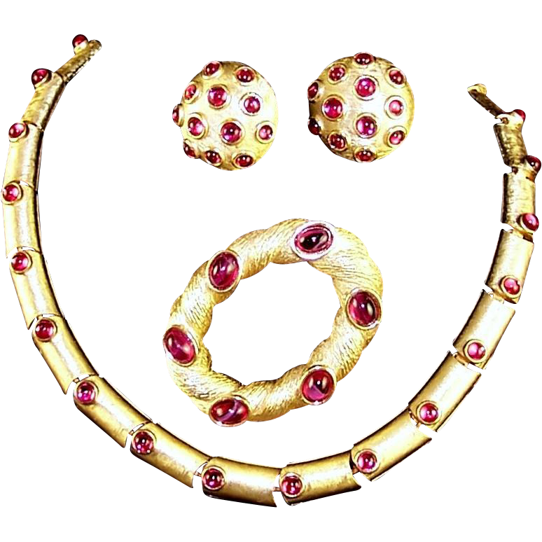 TRIFARI 'Alfred Philippe' Ruby Red Gemset Cabochons Link Necklace, Clip Earrings, and Pin