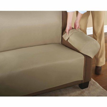 Mainstays 3-Piece Easy Couch Cover, Beige