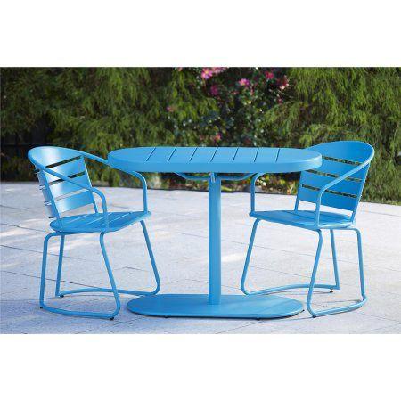 Cosco Outdoor 3 Piece Metro Retro Nesting Bistro Steel Patio Furniture Set Embled
