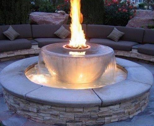 Outdoor Waterfountain Fireplace Combo Vannfontener Hagedesign Utendørs