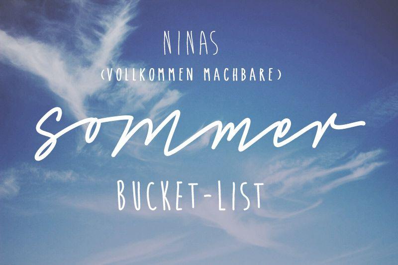 Ninas+(vollkommen+machbare)+Sommer+Bucket+List