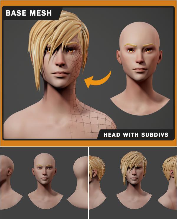 Stylized Anime Head Base Mesh Anime Head Anime Stylized