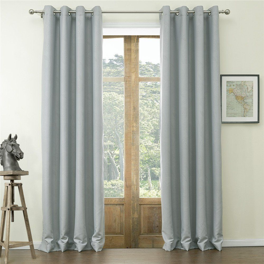Iyuego Wide Curtains 120inch 300inch For Large Windows Floral Classic Embossed Polyester Grommet Top Blackout Cur Curtains And Draperies Curtains Wide Curtains