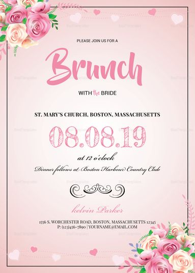 Lovely Bridal Lunch Invitation Template  Invitation Card