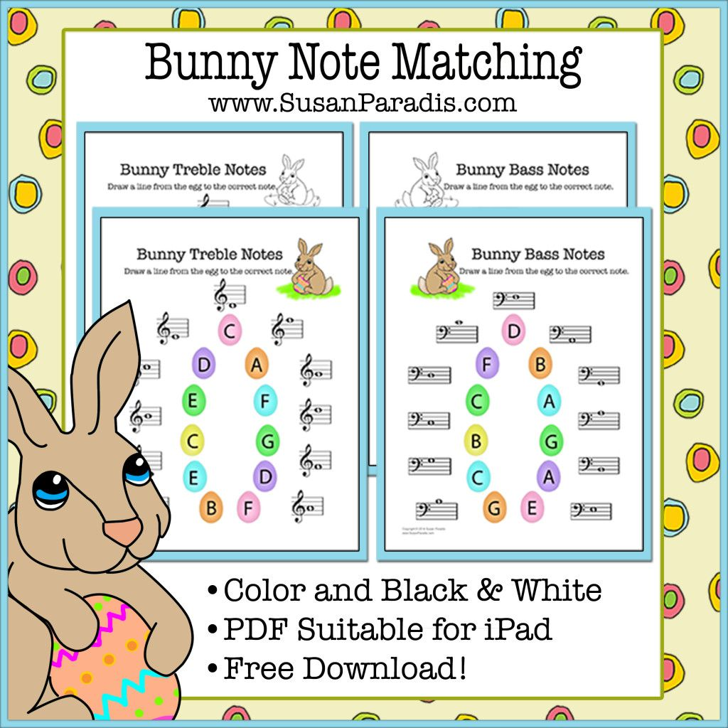 Bunny Note Matching Printables In Color And Black Amp White
