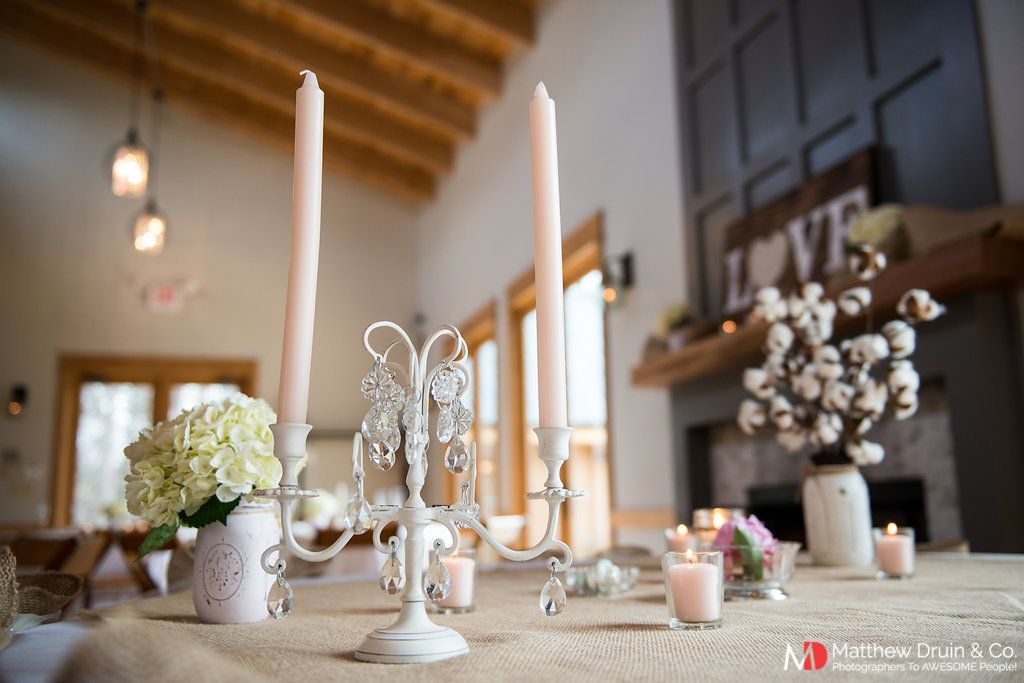 Rustic wedding reception table details from winter