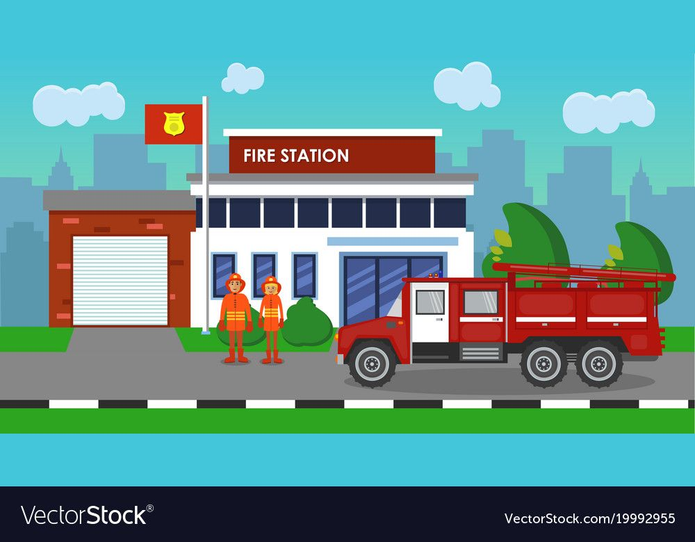 The Composition Of The Fire Truck And Fire Station Download A Free Preview Or High Quality Adobe Illustrator Ai Eps Pdf And High Resolution Jpeg Versions