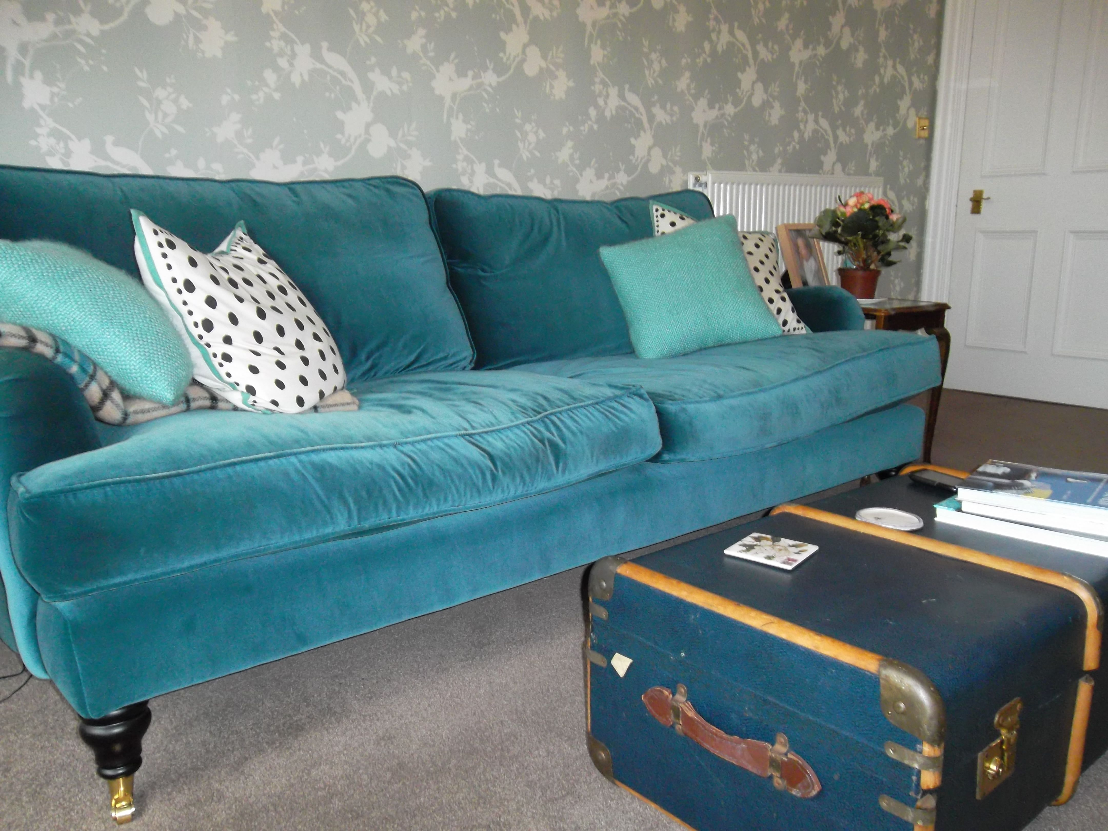 Bluebell 3 Seater Velvet Sofa In Dark Turquoise From With Vintage Trunk Coffee Table Spot Print Cushions By Conran At Mands