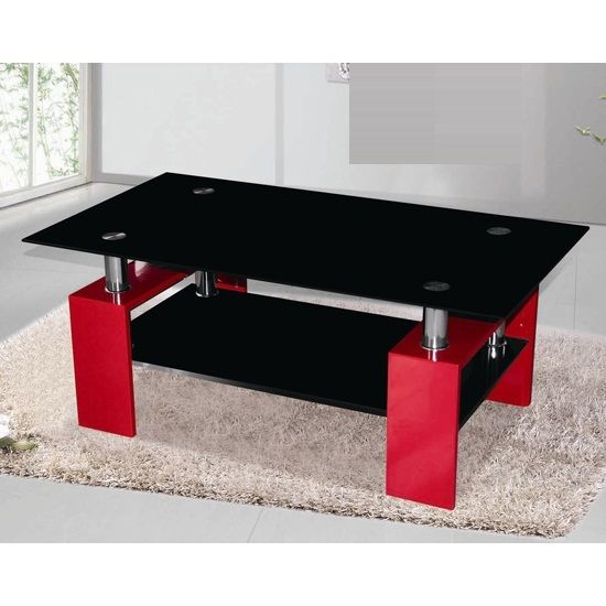 Delightful Metro Black Glass Coffee Table In Red High Gloss Legs
