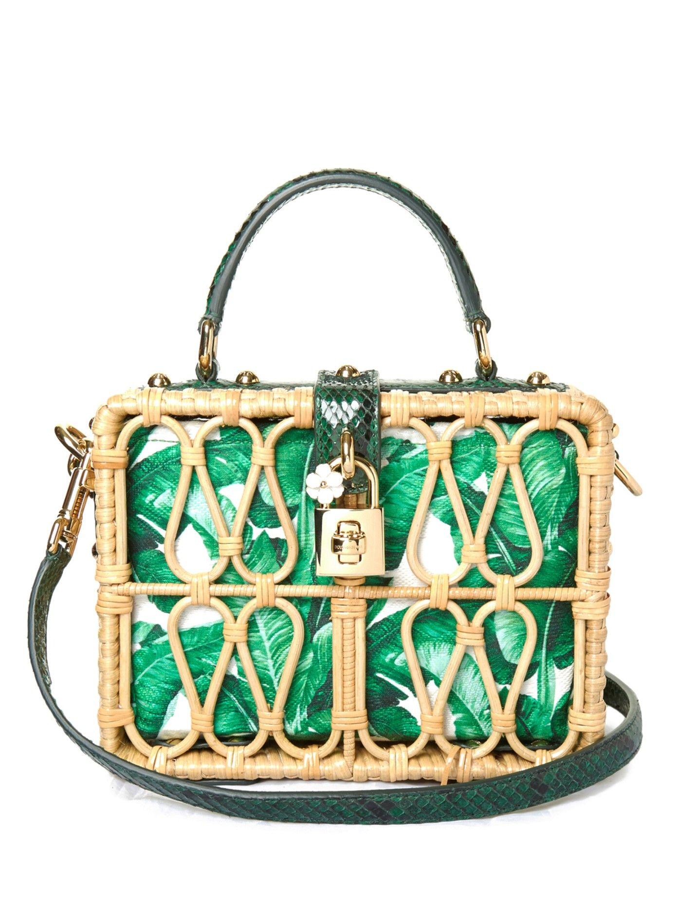 768094af0f Banana leaf-print leather and wicker box bag | Dolce & Gabbana |  MATCHESFASHION.COM UK