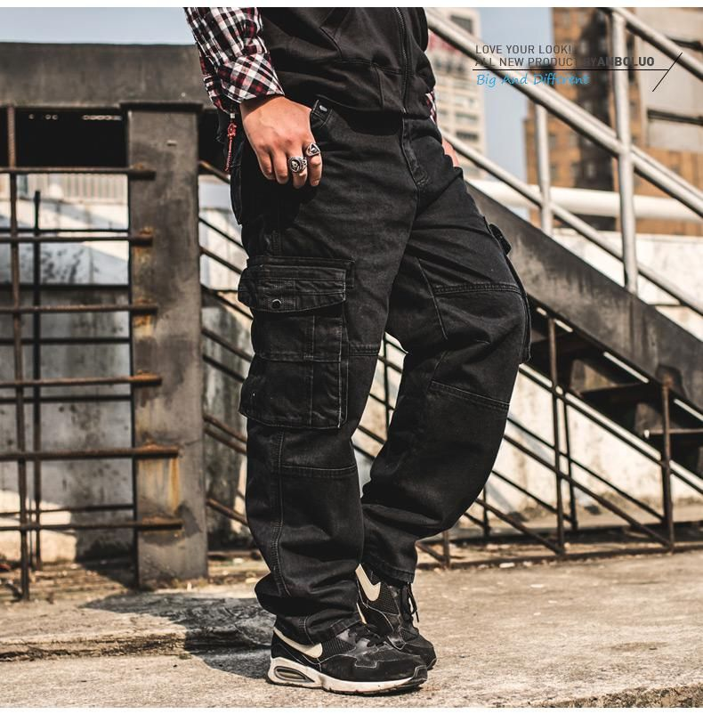 Japan Style Brands Mens Hip Hop Baggy Jeans Multi Pocket Men Casual Loose  Fit Black Cargo Jeans Plus Size 34 36 38 40 42 44 46. Yesterday s price  US   45.89 ... 8d3a6ddaed23