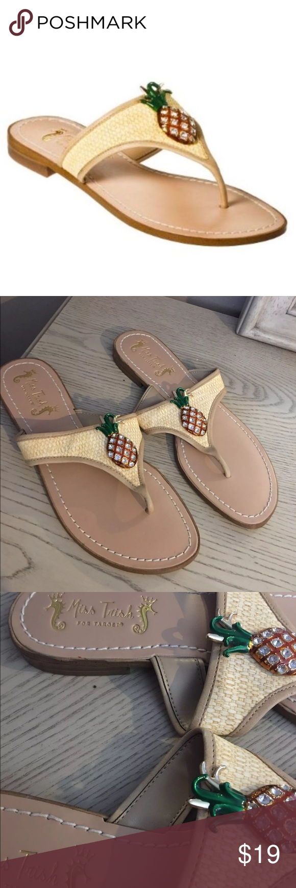 d8f482180 Miss Trish Pineapple Flip Flop Sandals Size 8 Pineapple Rhinestones none  missing worn once Excellent conditions Miss Trish Shoes Sandals