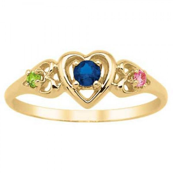 1ecd45f230c55 Daughter's Pride Birthstone Heart Ring In 14k Yellow Gold Plated (3 ...