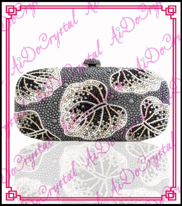 178.00$  Buy now - http://alivs7.worldwells.pw/go.php?t=32366641539 - Aidocrystal blink crystals grey leaf pattern clutch handbag for women 178.00$