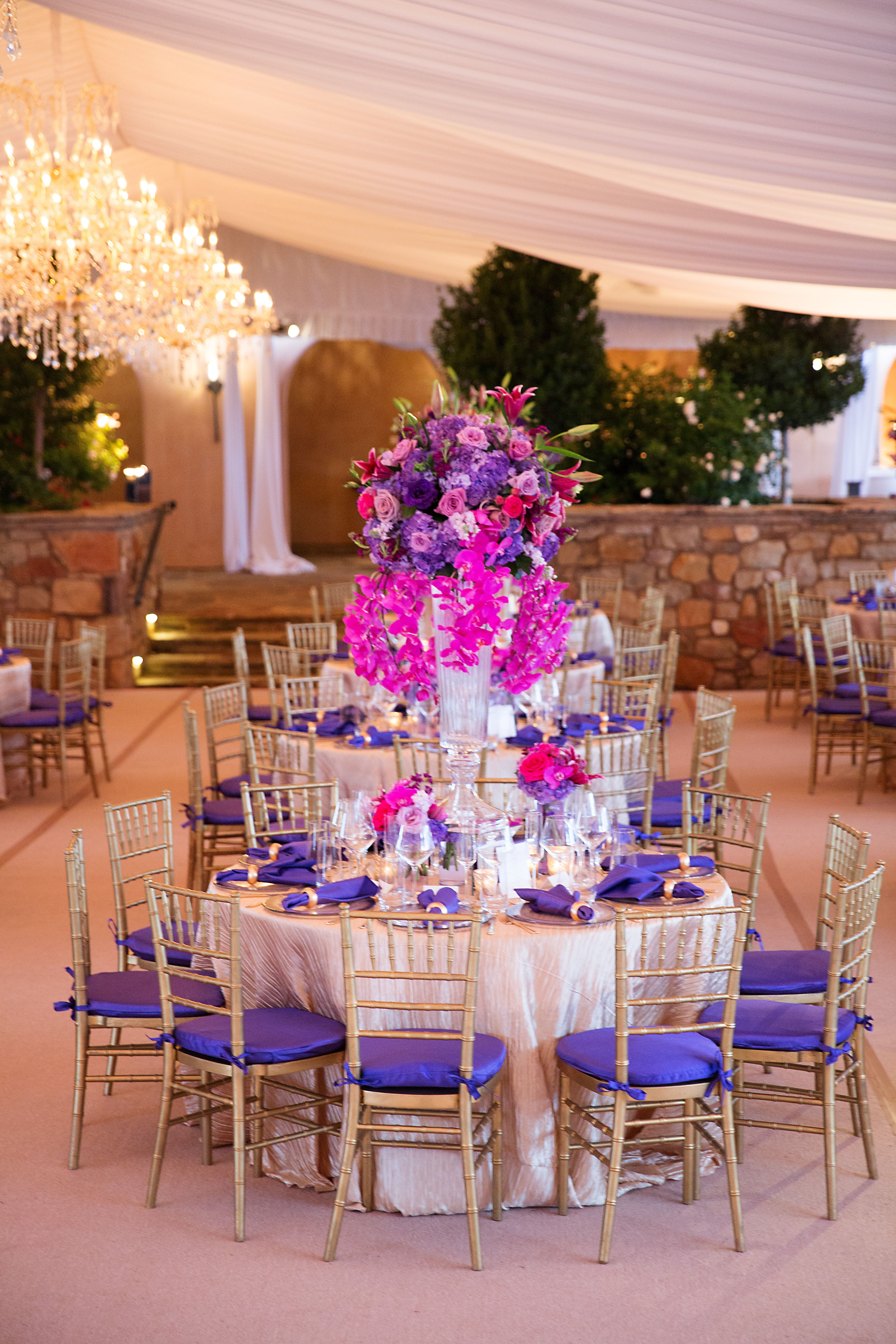 Purple, gold, and fuchsia decor everywhere the eye can see for this ...