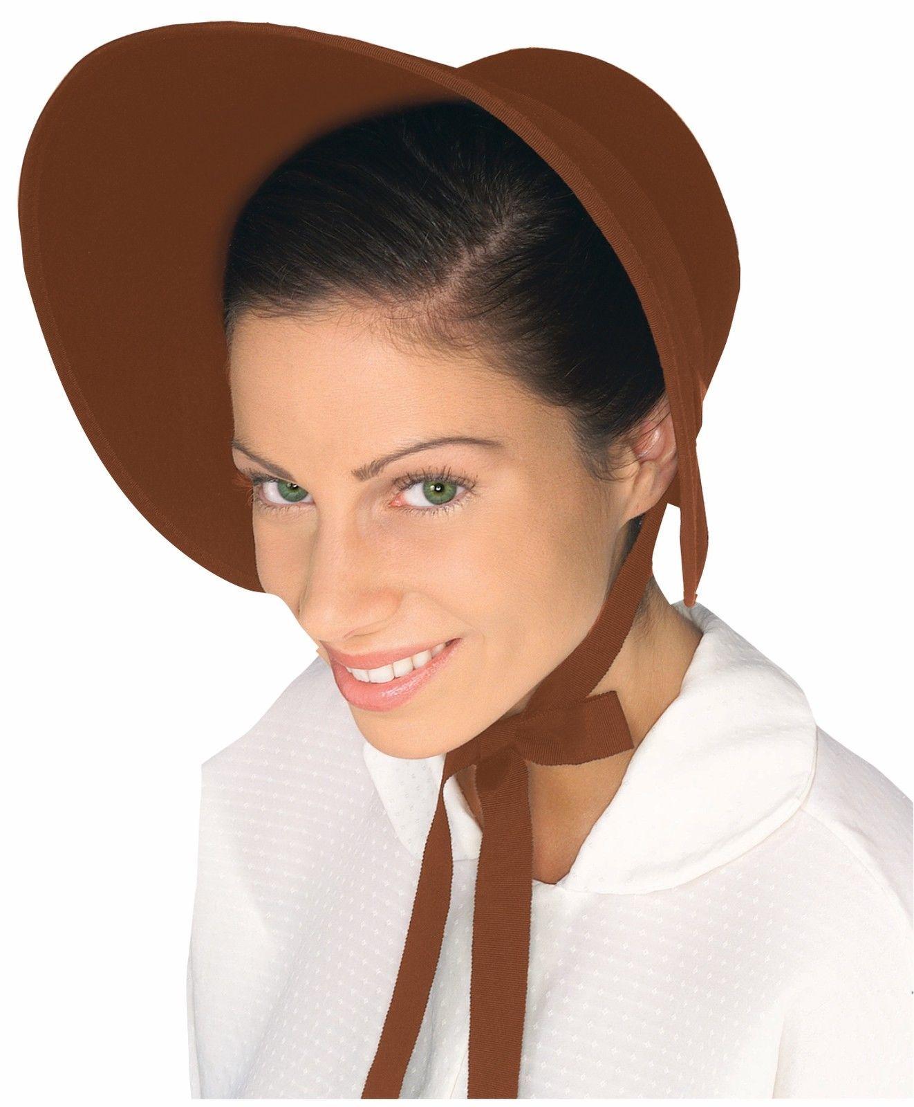 Brown-Red-Felt-Colonial-Pilgrim-Ladies-Hat-Amish-Mennonite-Quaker-Costume- Bonnet 81776b7c87cb