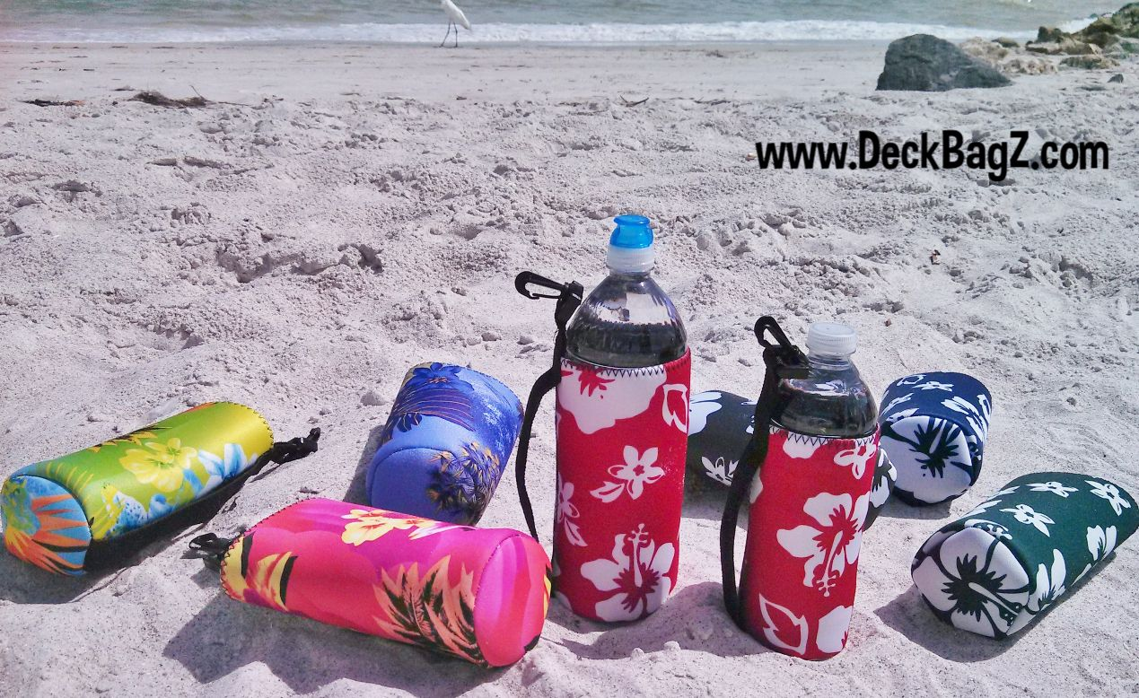 2fb5e5ac09 Take  em to the  beach!  DeckBagZ drink holders. Water  bottlecoolers in  many fun designs.  Tropicals