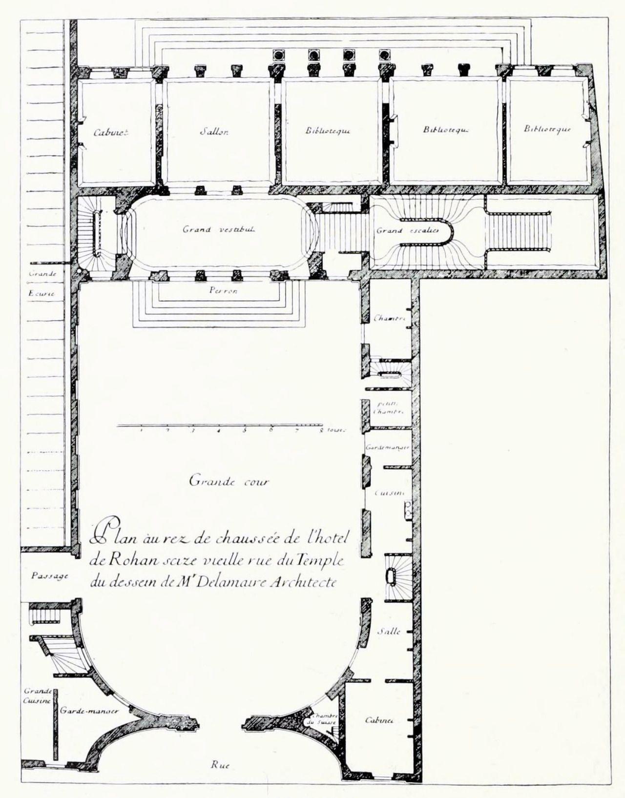 De La Maire's floor plan of the Hôtel de Rohan's ground