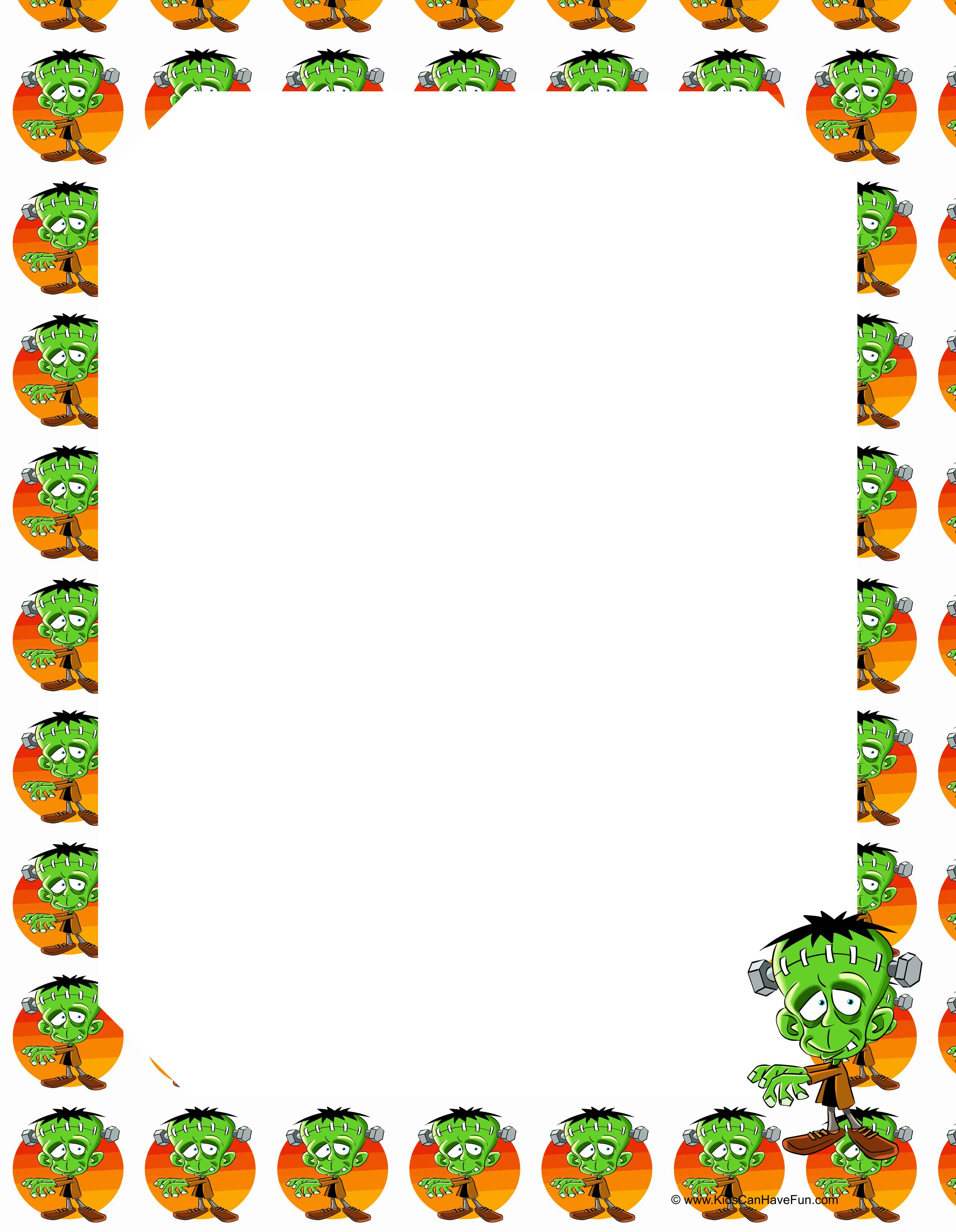 Frankenstein Bordered Writing Paper For Halloween