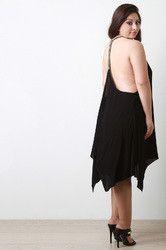 Embroidered T-Back Handkerchief Hem Dress
