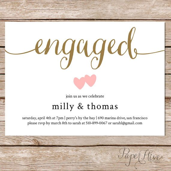 Printable engagement party invitation   Modern Wedding   Couples - engagement invitation words