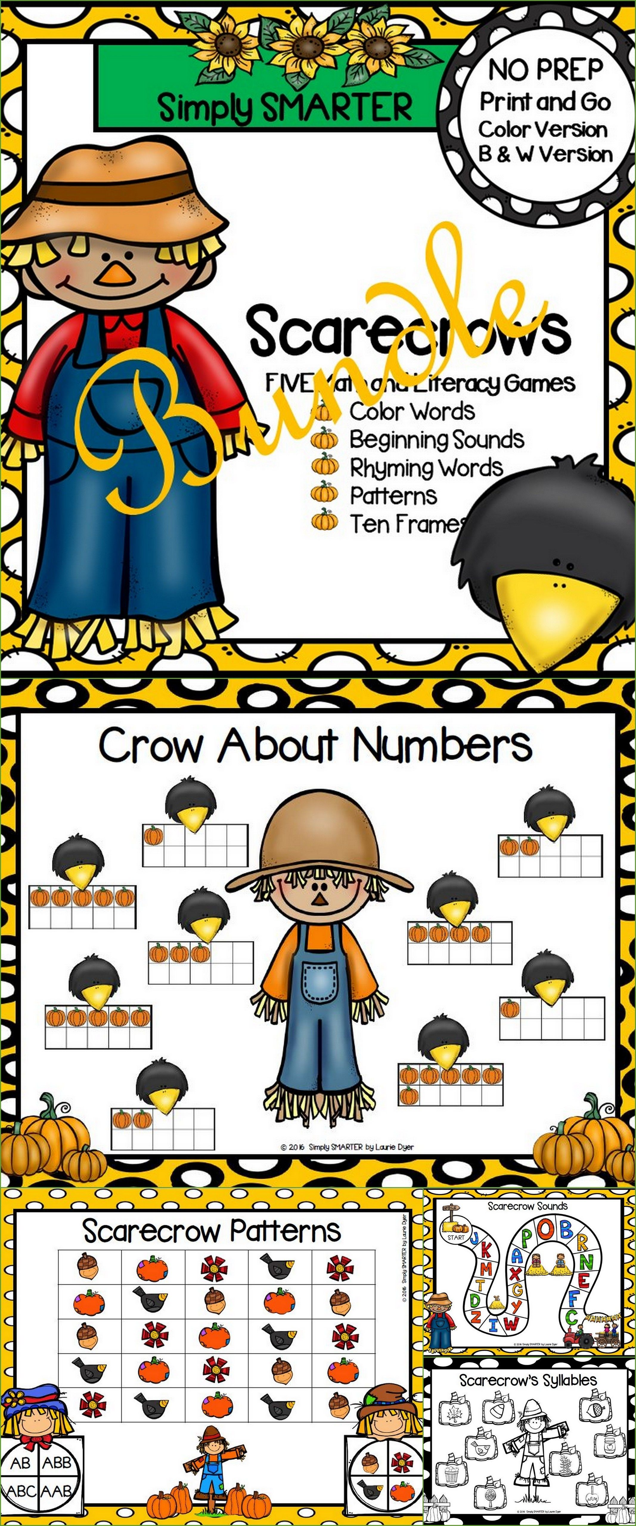 No Prep Scarecrow Themed Math And Literacy Games Bundle